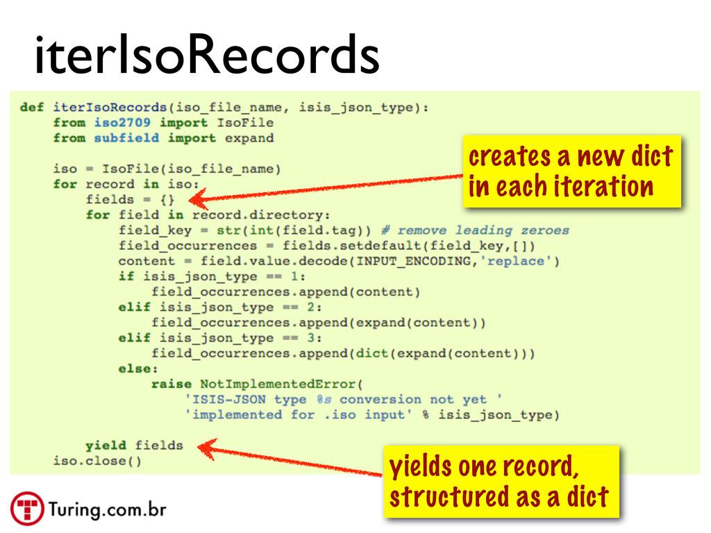@ramalhoorg iterIsoRecords yields one record, s...