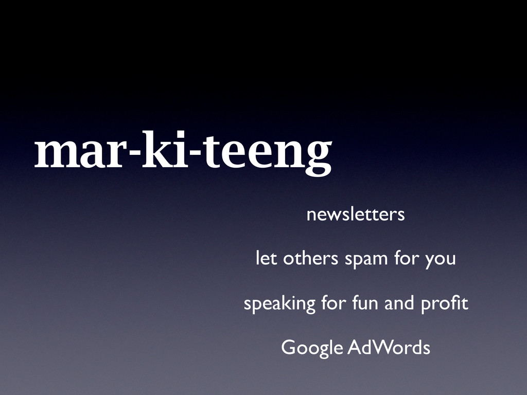 mar-ki-teeng newsletters let others spam for yo...