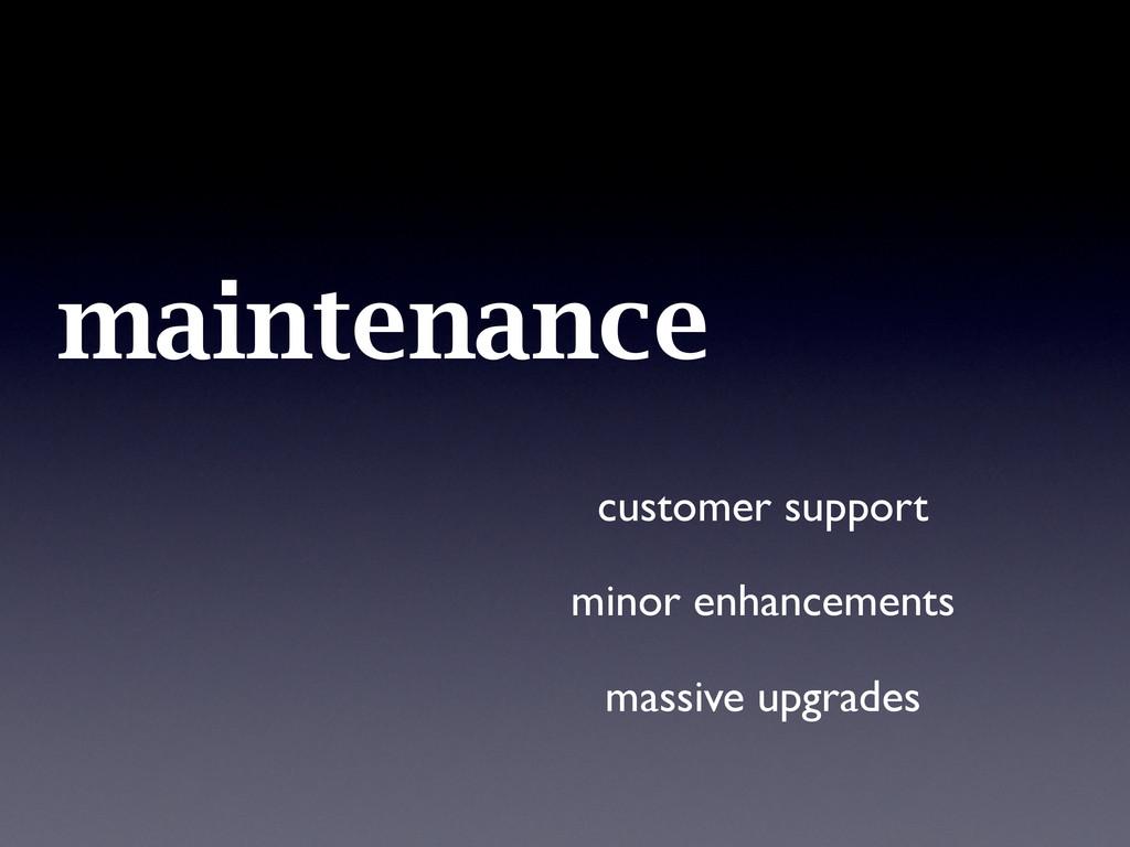maintenance customer support minor enhancements...