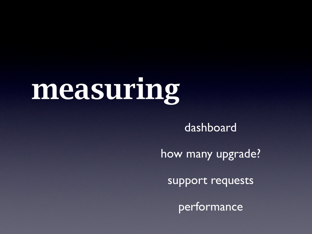 measuring dashboard how many upgrade? support r...