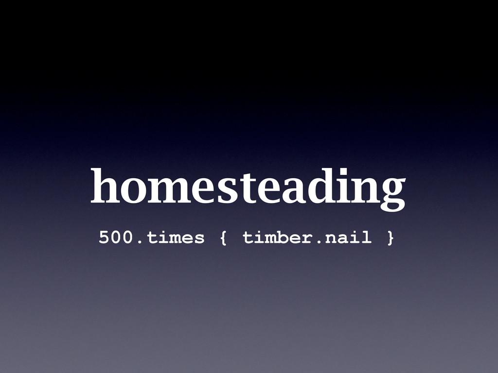homesteading 500.times { timber.nail }