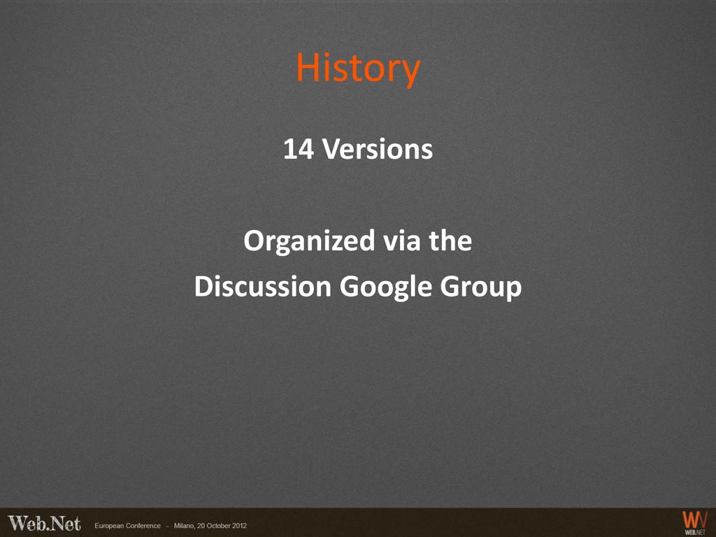 History 14 Versions Organized via the Discussio...