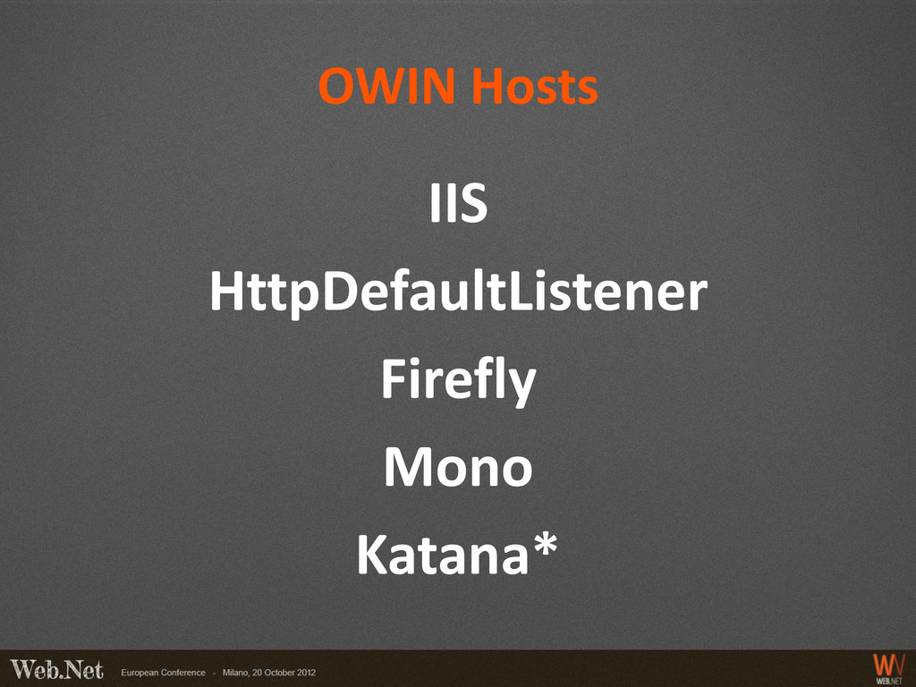 OWIN Hosts IIS HttpDefaultListener Firefly Mono...