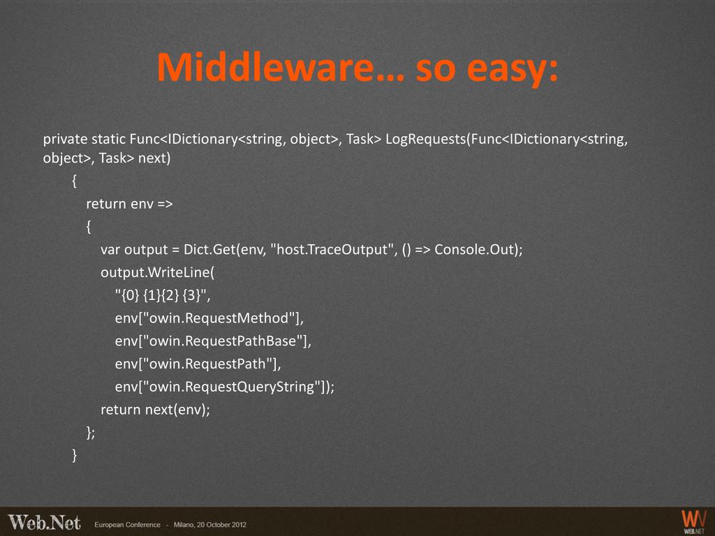 Middleware… so easy: private static Func<IDicti...