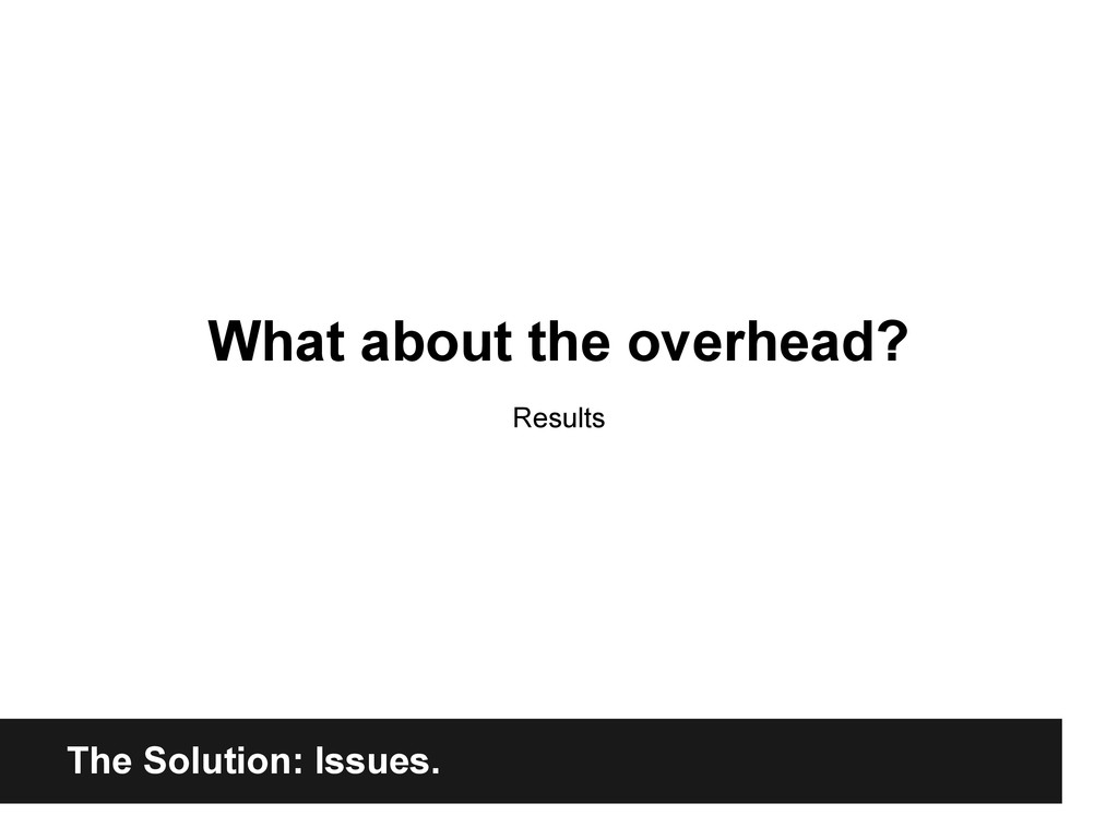 The Solution: Issues. What about the overhead? ...