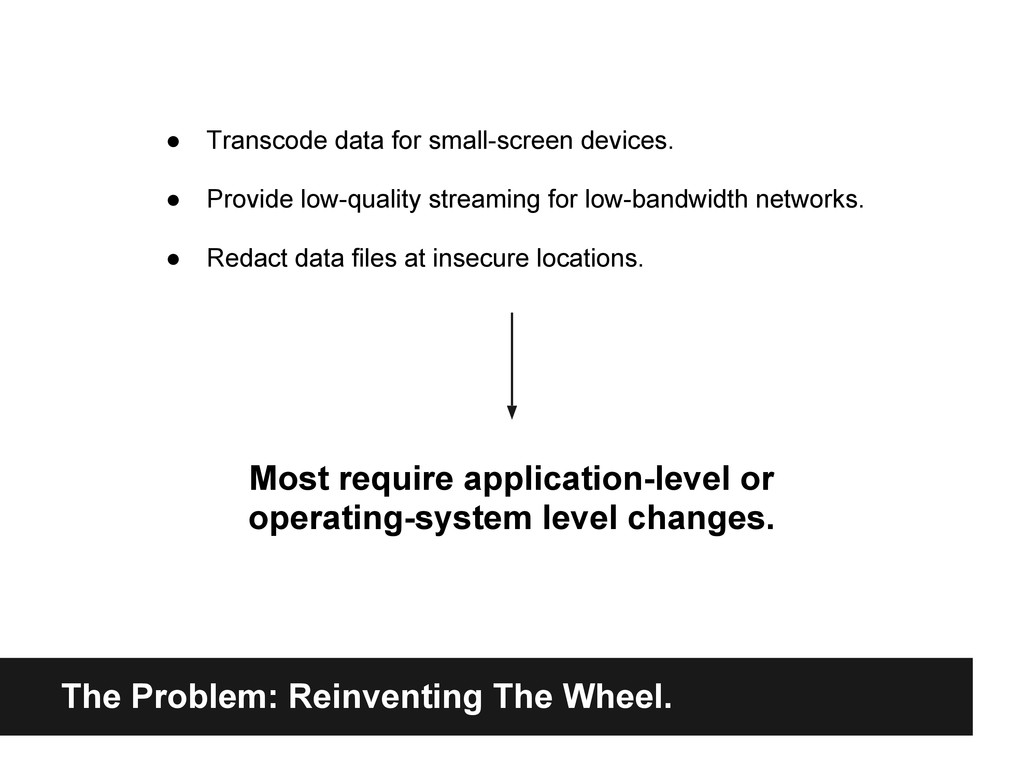 The Problem: Reinventing The Wheel. ● Transcode...