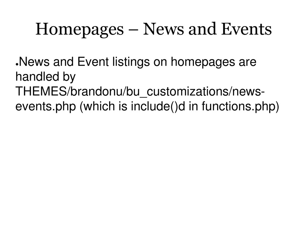 Homepages – News and Events ● News and Event li...