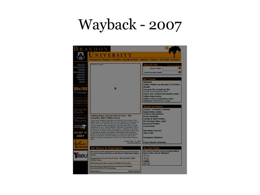 Wayback - 2007