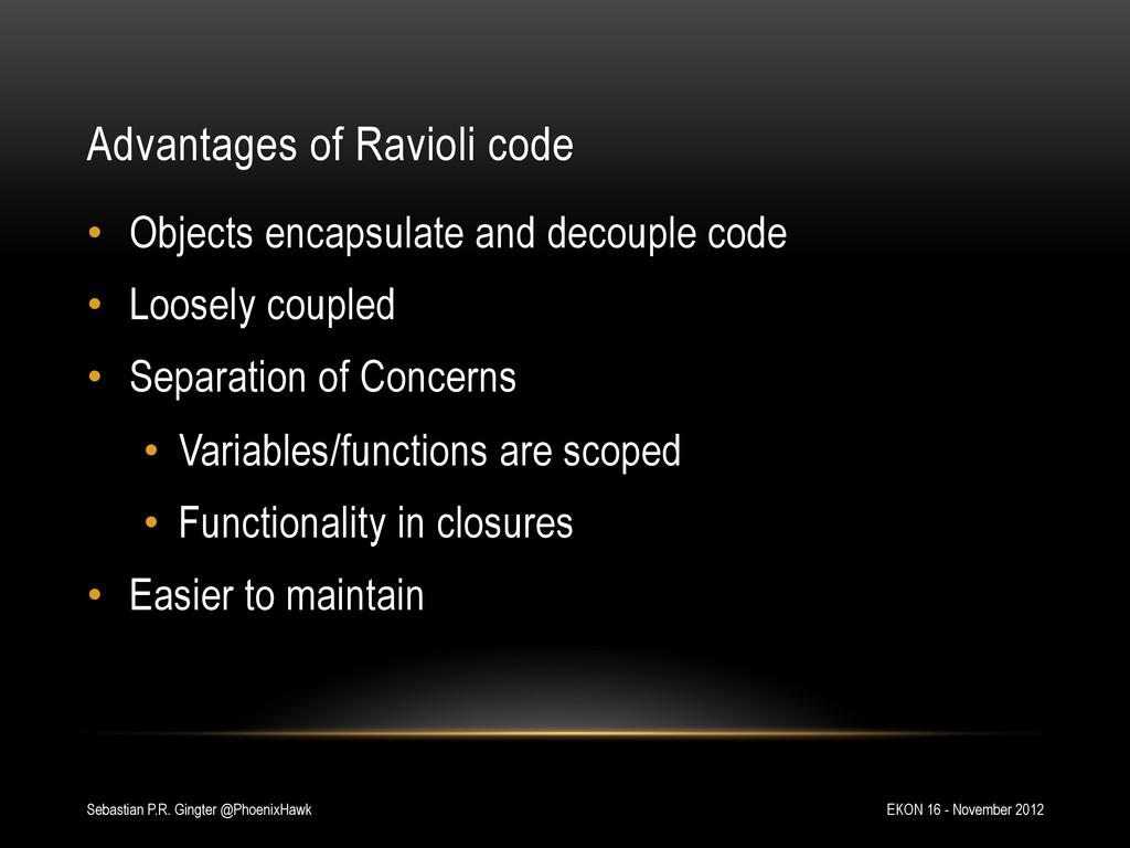 Advantages of Ravioli code EKON 16 - November 2...