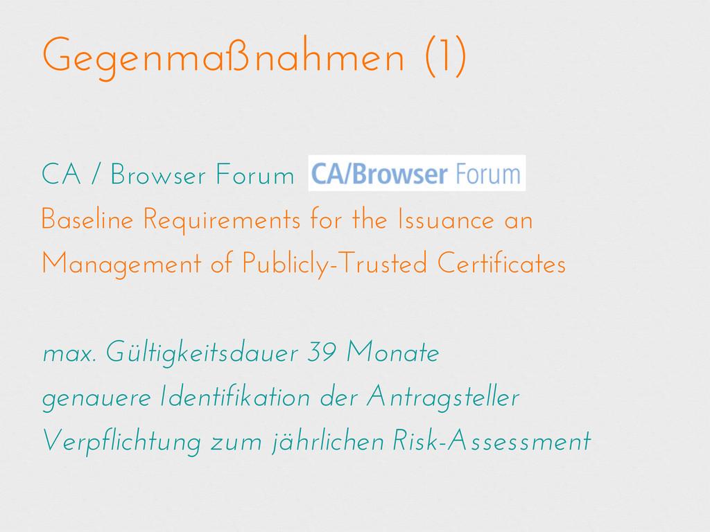 Gegenmaßnahmen (1) CA / Browser Forum Baseline ...
