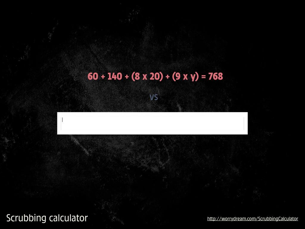 Scrubbing calculator vs 60 + 140 + (8 x 20) + (...