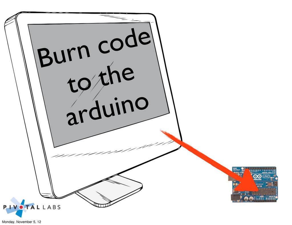 Burn code to the arduino Monday, November 5, 12