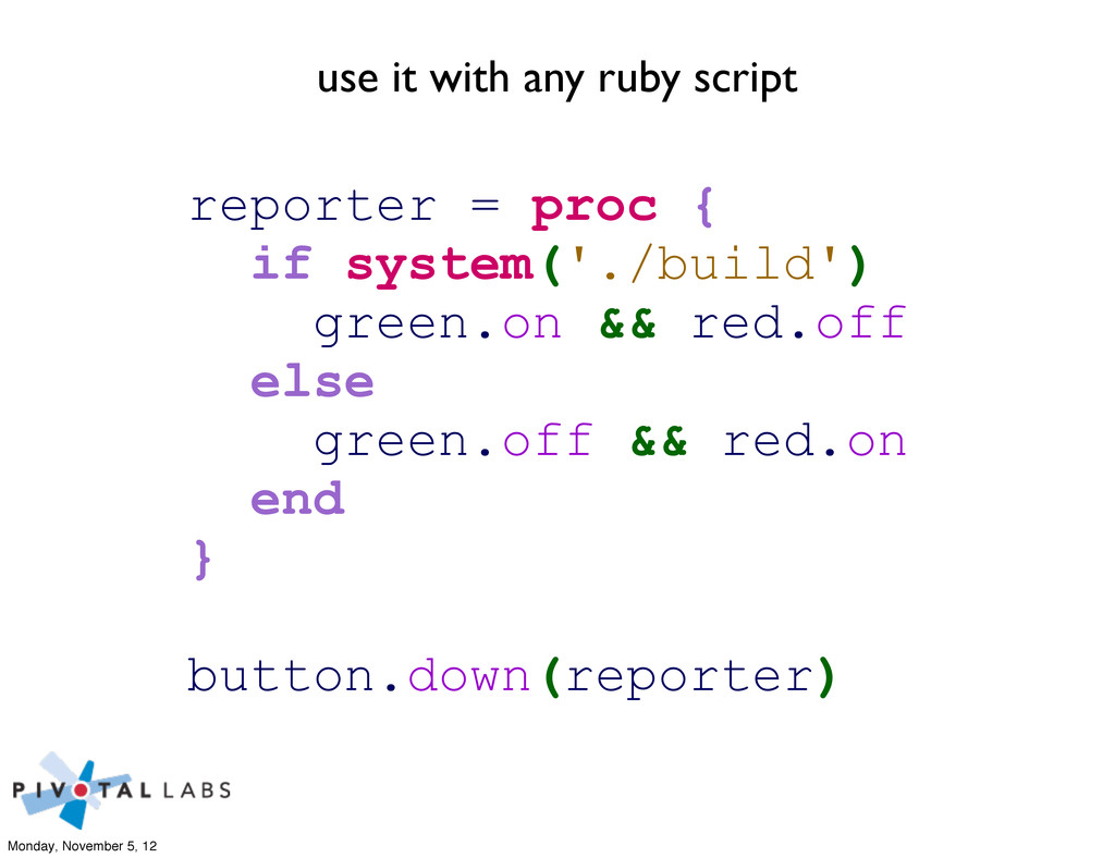 use it with any ruby script reporter = proc { i...