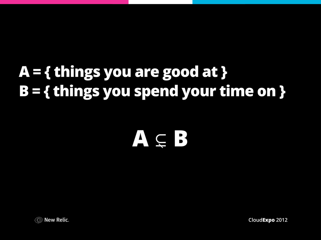 CloudExpo 2012 A = { things you are good at } B...