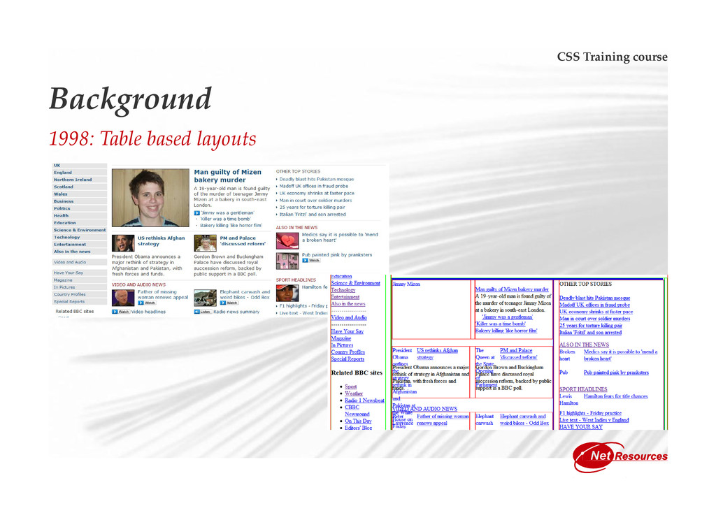 CSS Training course Background 1998: Table base...