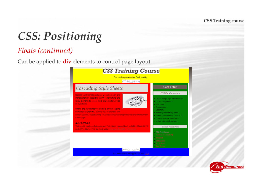CSS Training course CSS: Positioning Floats (co...