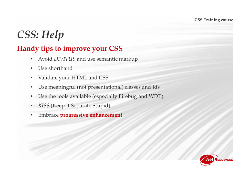 CSS Training course CSS: Help Handy tips to imp...