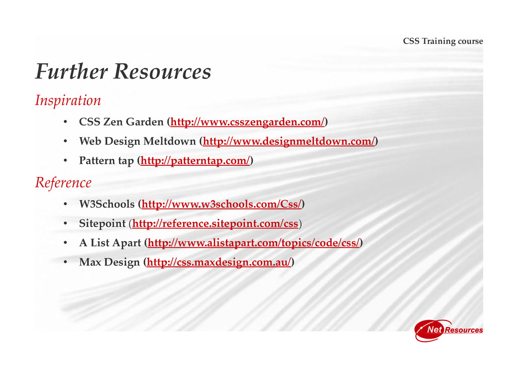 CSS Training course Further Resources Inspirati...