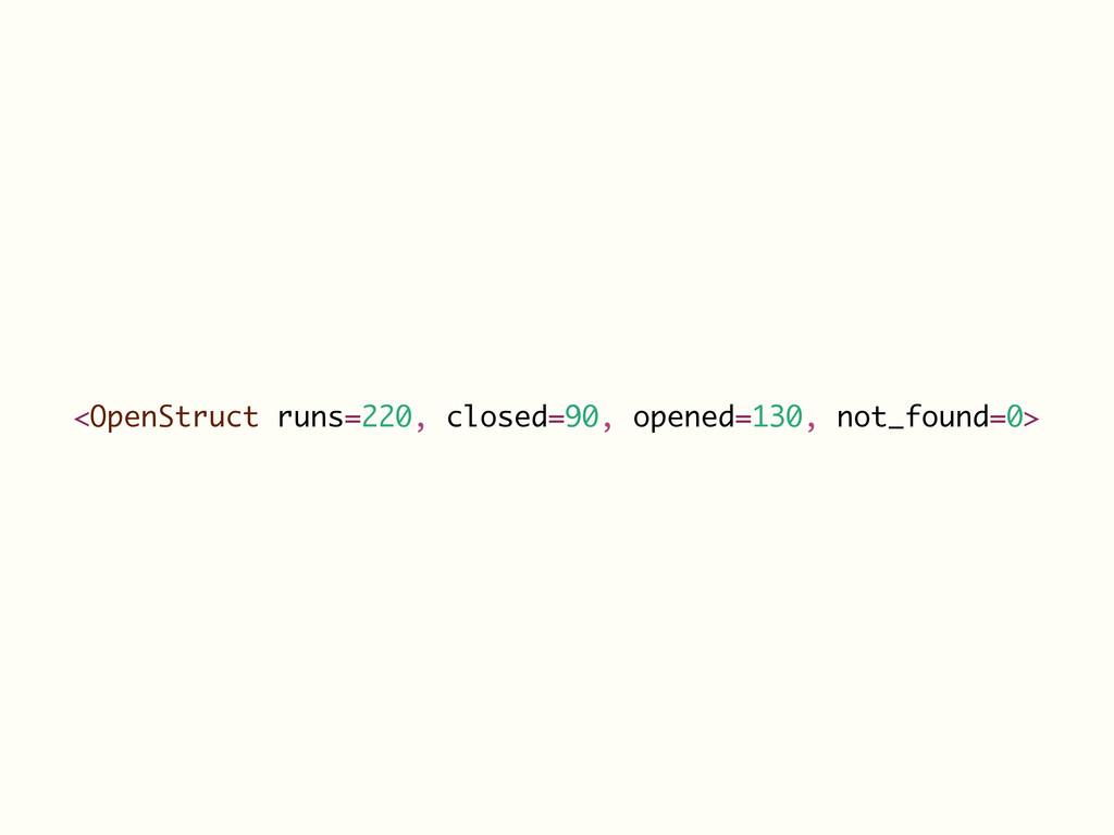 <OpenStruct runs=220, closed=90, opened=130, no...