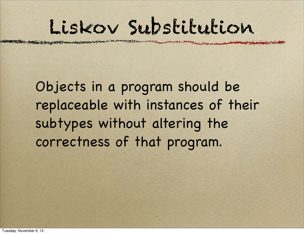 Liskov Substitution Objects in a program should...