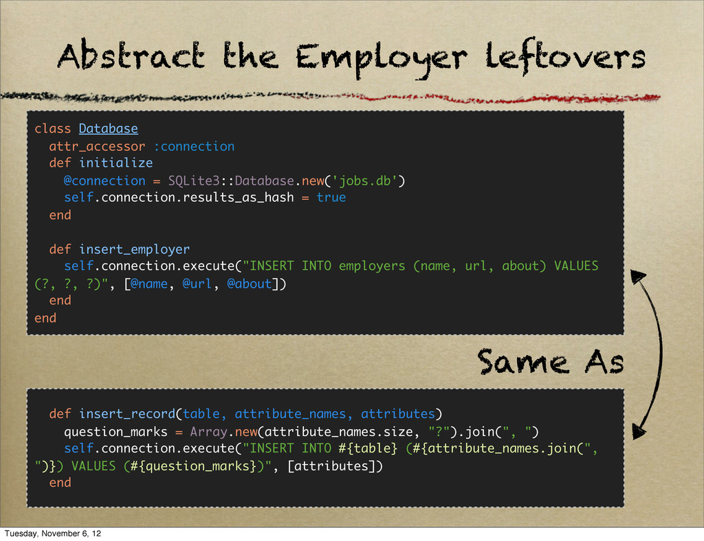 Abstract the Employer leftovers class Database ...
