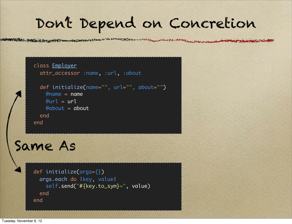 Don't Depend on Concretion class Employer attr_...