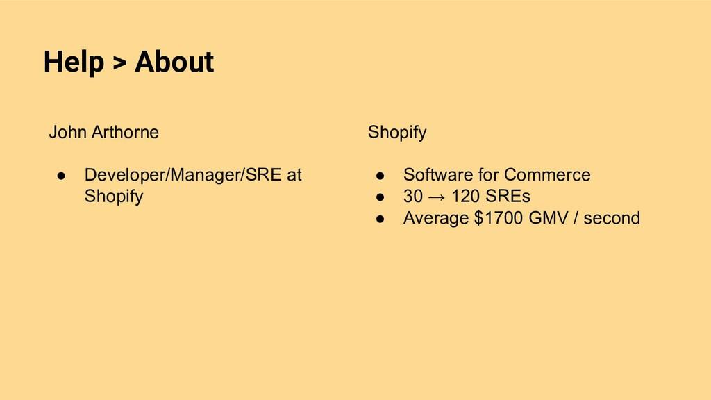 Help > About John Arthorne ● Developer/Manager/...