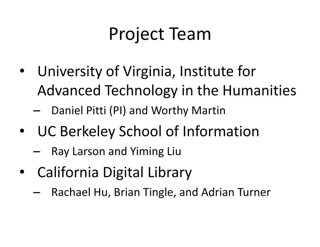 Project Team ProjectTeam • UniversityofVirgi...