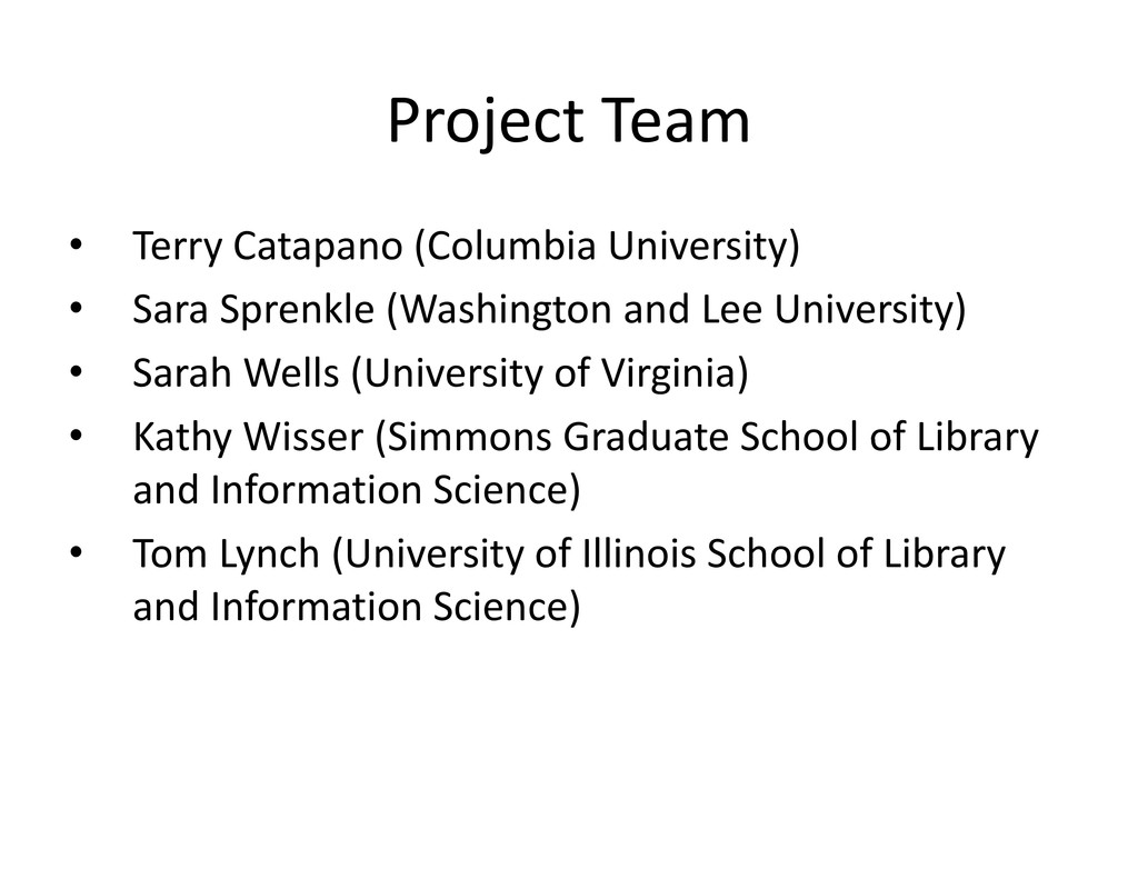 Project Team ProjectTeam • TerryCatapano(Col...