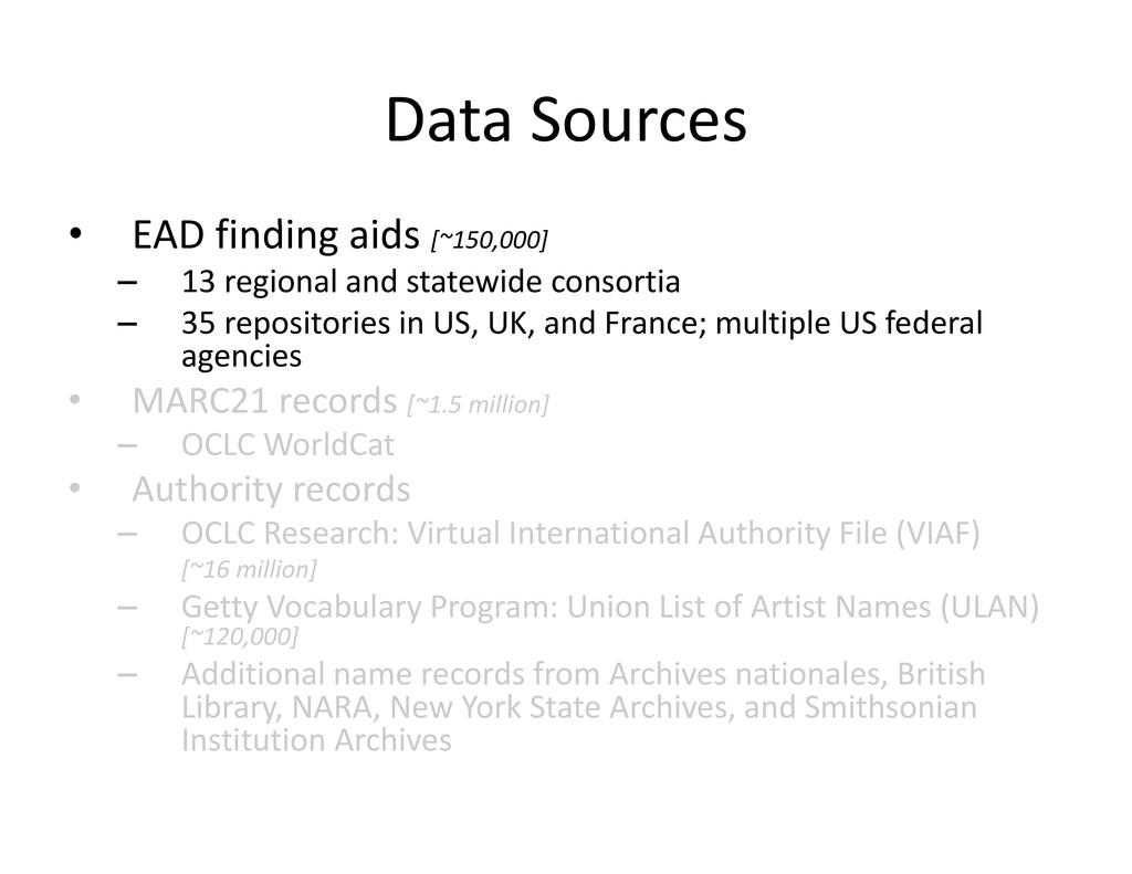 Data Sources DataSources EAD fi di id • EADfi...