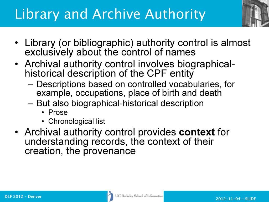 2012-11-04 - SLIDE DLF 2012 - Denver Library an...