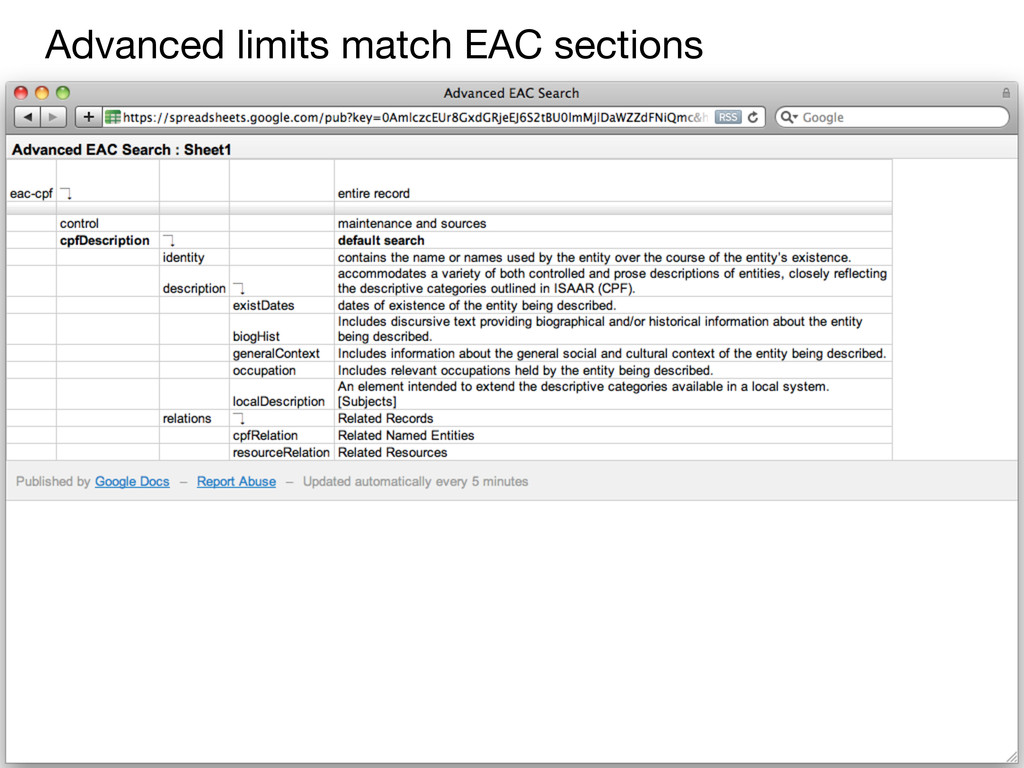 Advanced limits match EAC sections
