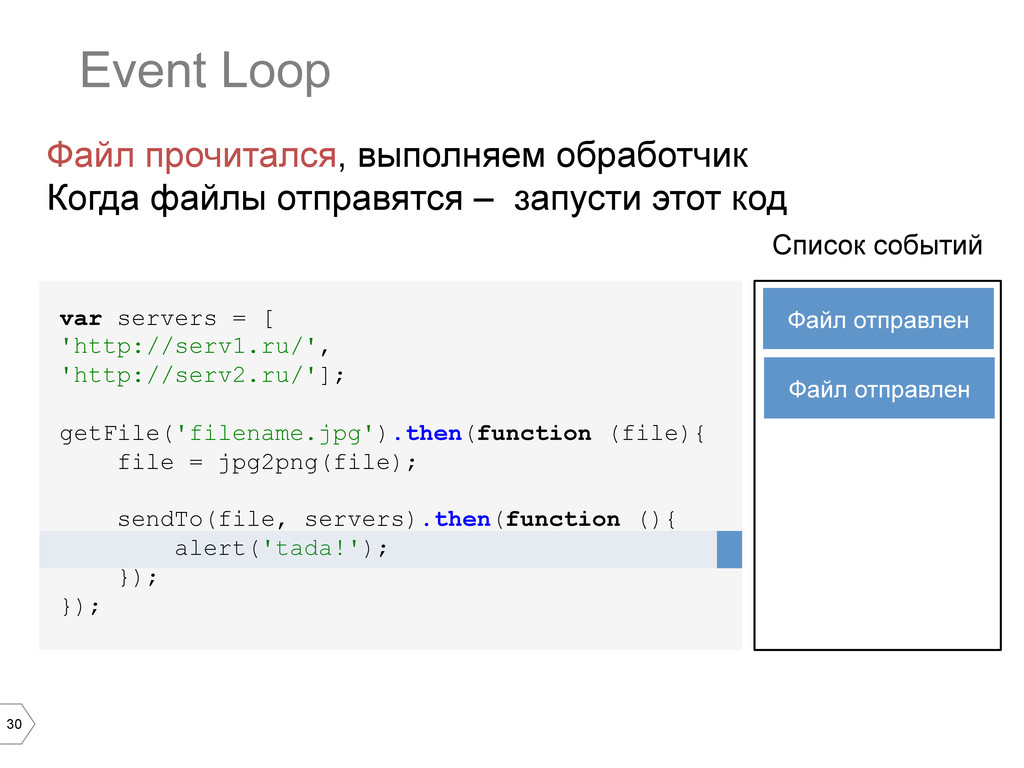30 Event Loop var servers = [ 'http://serv1.ru/...