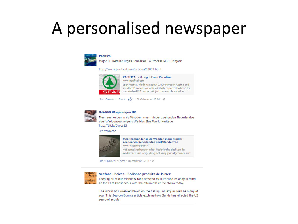 A personalised newspaper