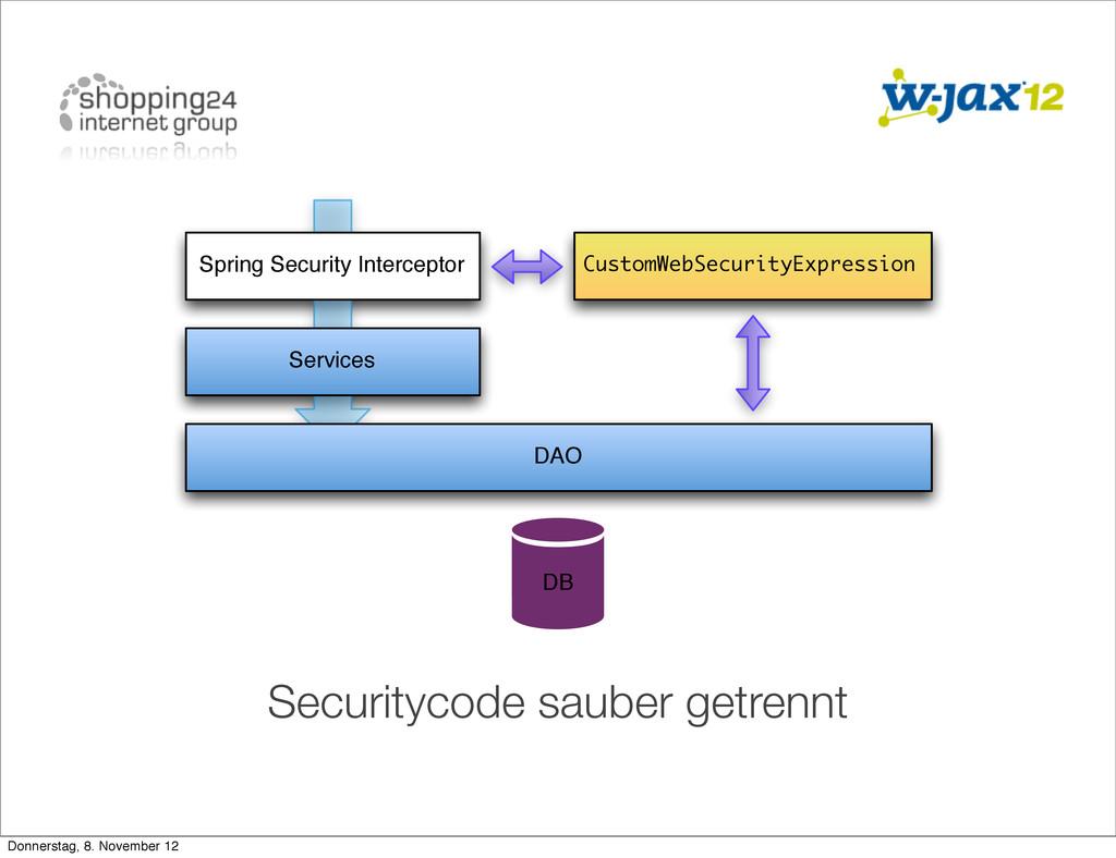 Securitycode sauber getrennt Services DAO DB Sp...