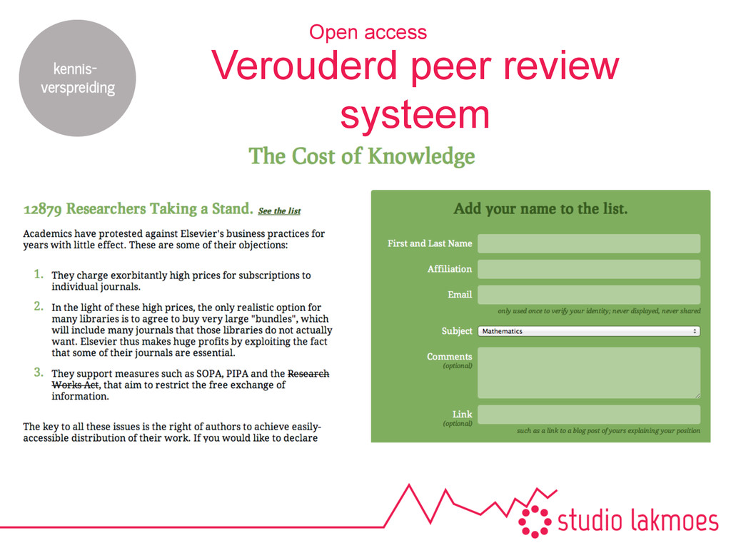 Verouderd peer review systeem Open access
