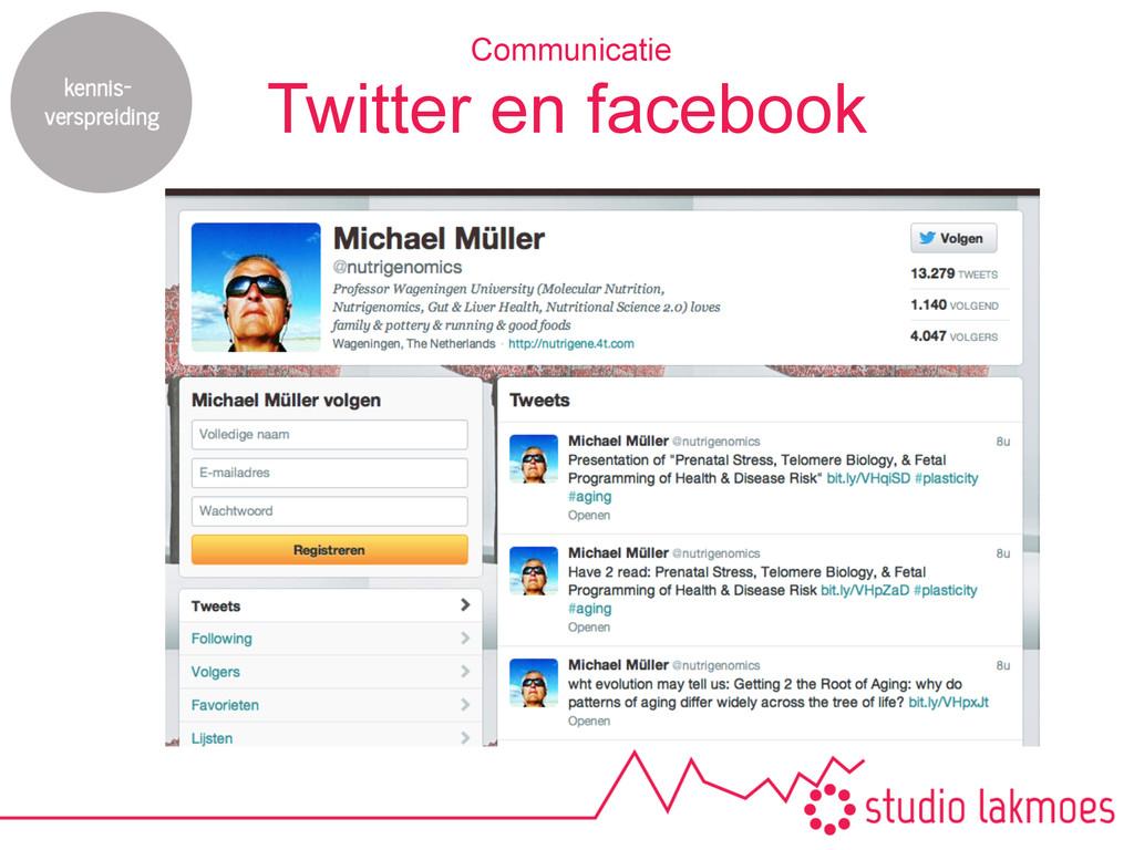 Twitter en facebook Communicatie