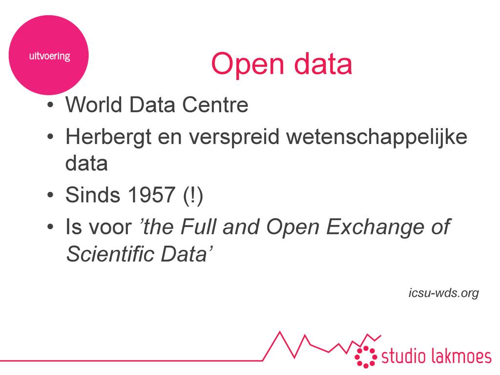 Open data • World Data Centre • Herbergt en v...