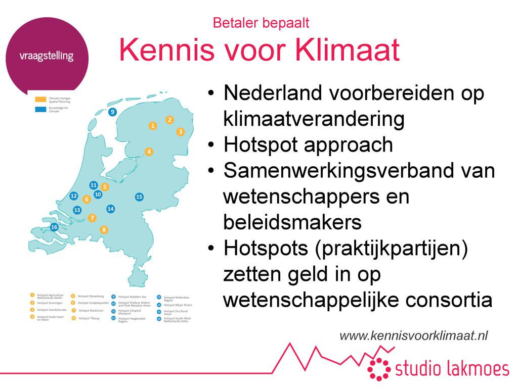 Kennis voor Klimaat www.kennisvoorklimaat.nl Be...