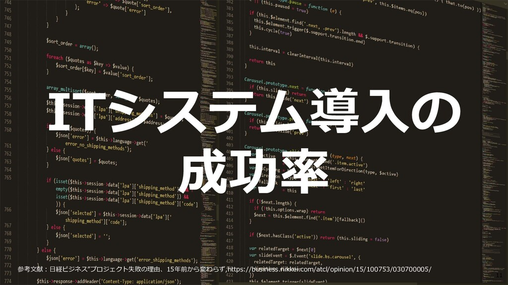©2019 3rd-Consulting 11 ITシステム導⼊の 成功率 参考⽂献︓⽇経ビジ...