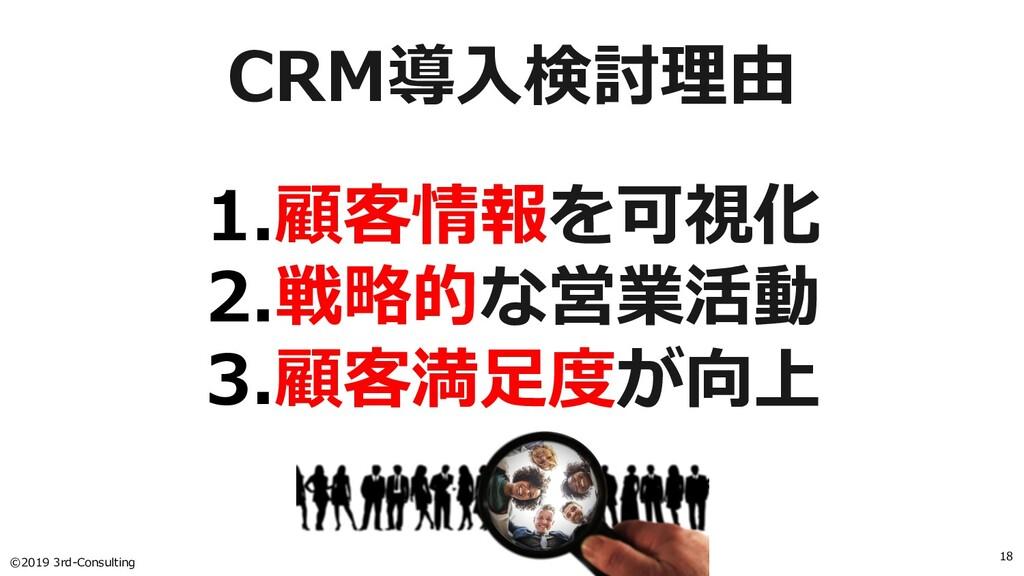©2019 3rd-Consulting 18 CRM導⼊検討理由 1.顧客情報を可視化 2....