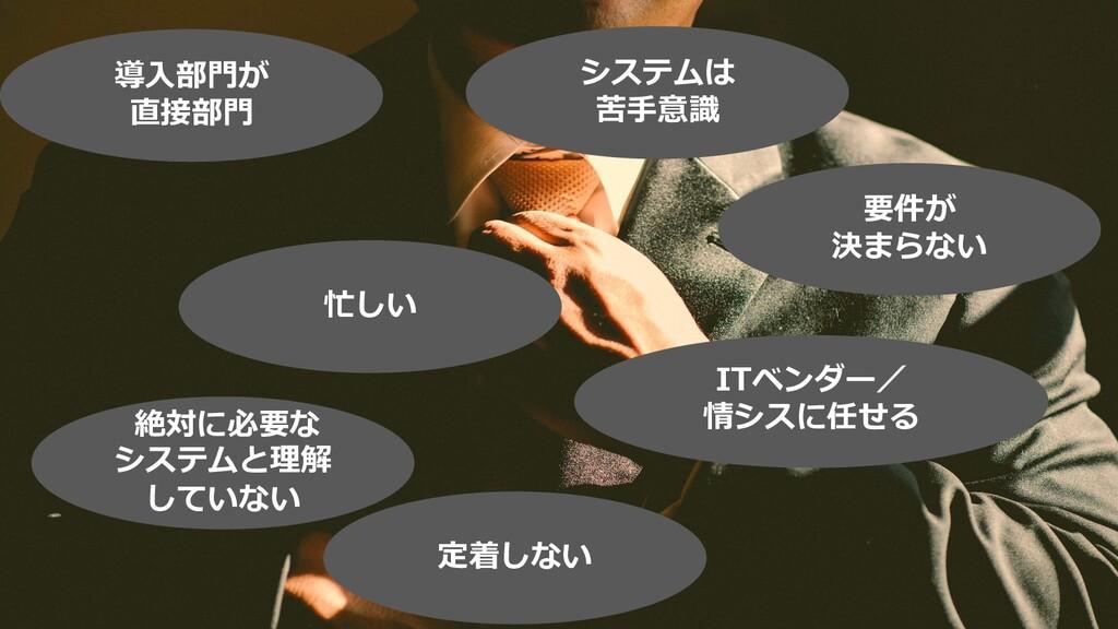 ©2019 3rd-Consulting 21 導⼊部⾨が 直接部⾨ 忙しい 要件が 決まらな...