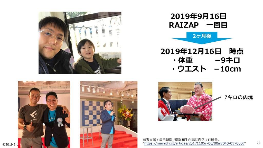 ©2019 3rd-Consulting 25 2019年9⽉16⽇ RAIZAP ⼀回⽬ 2...