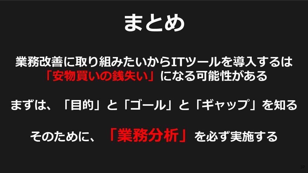 ©2019 3rd-Consulting 37 まとめ 業務改善に取り組みたいからITツールを...