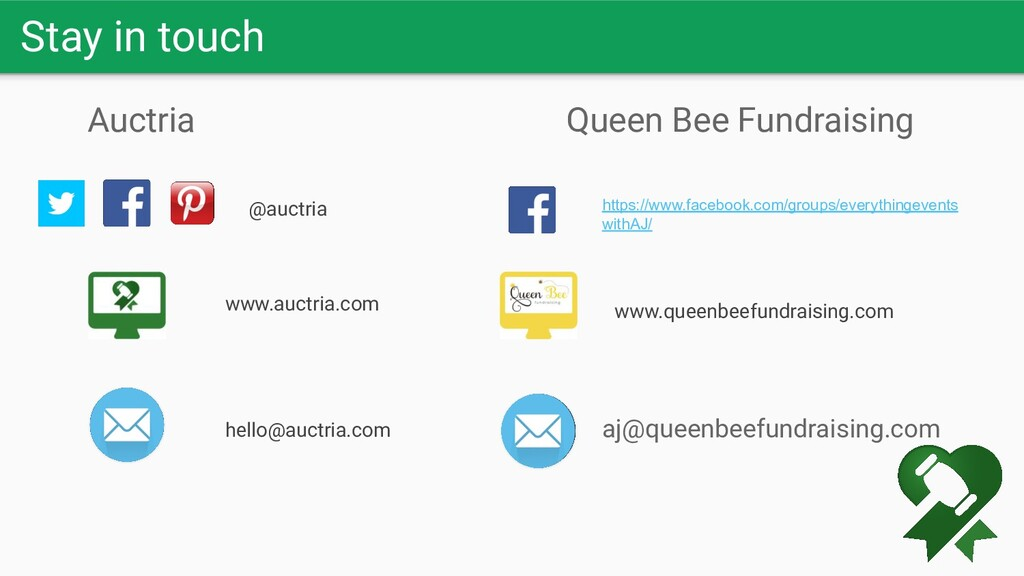 Stay in touch Queen Bee Fundraising Auctria @au...