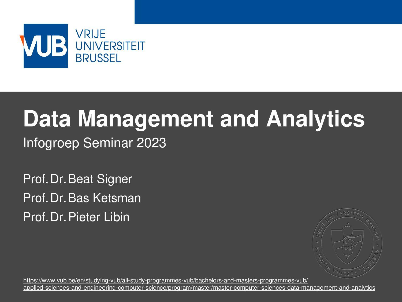 2 December 2005 Data Management and Analytics I...