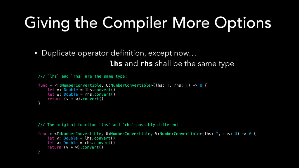 • Duplicate operator definition, except now… lh...