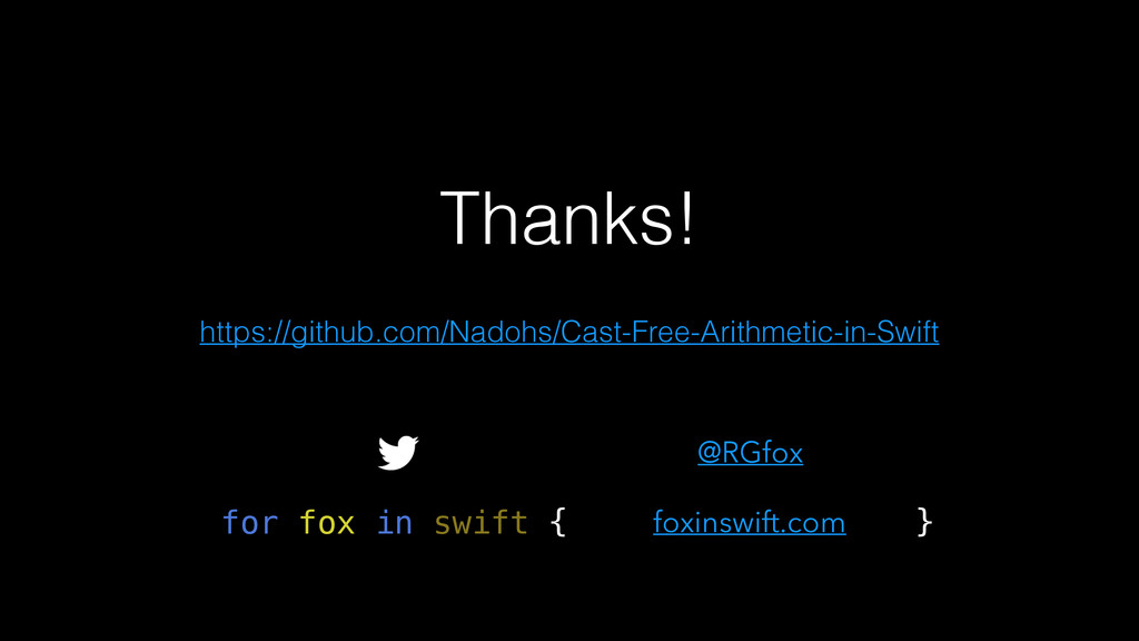 Thanks! foxinswift.com @RGfox for fox in swift ...