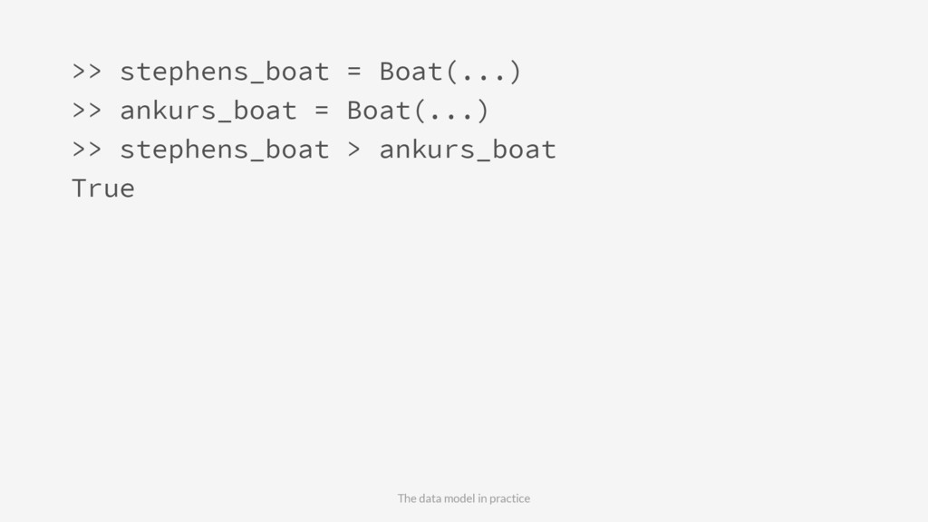>> stephens_boat = Boat(...) >> ankurs_boat = B...