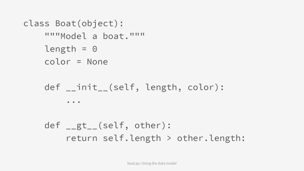 """class Boat(object): """"""""""""Model a boat."""""""""""" length ..."""